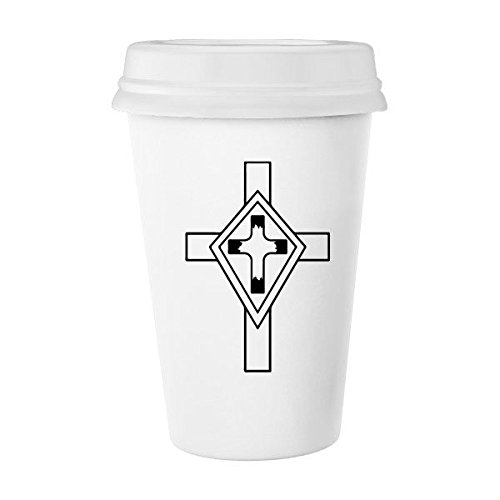 Religion Church Holy Christianity Belief Black Cross Culture Design Art Illustration Pattern Classic Mug White Pottery Ceramic Cup Milk Coffee Cup 350 ml by DIYthinker