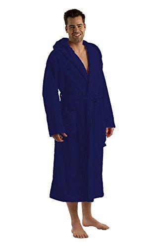 Cotton Men and Women Hooded robes Hooded Robe Mens Womens Bathrobe, L/XL, Navy
