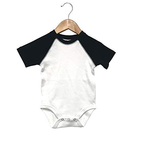 Laughing Giraffe Baby Short Sleeve Raglan Baseball Onesie Bodysuit (12-18M, White/Black)