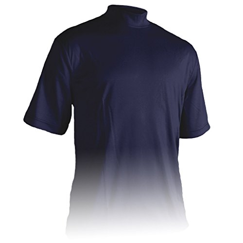 Monterey Club Mens Dry Swing Window Dot Texture Mock Neck Shirt #3307 (Navy, Large)