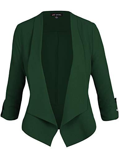 Michel Women's Casual 3/4 Sleeve Open Front Blazer Cardian Jacket Work Office Blazer Huntergreen Small