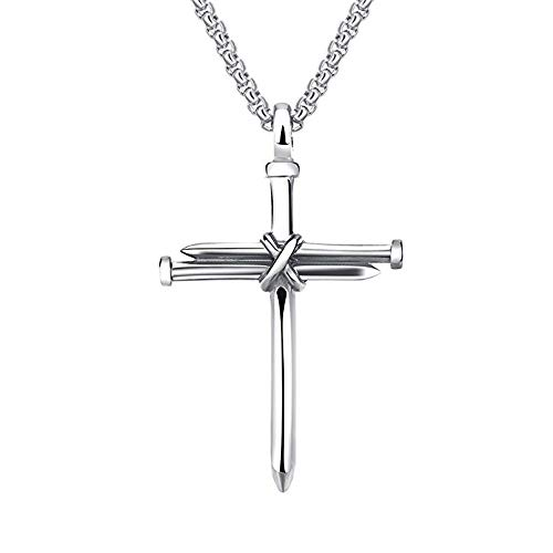 Bluegoog Black Sales Friday Cyber Sales Monday & Deals Week 2018-Men's Stainless Steel Nail Cross Charm Pendant Necklace Polished Gold Silver Black 24 Inch Chain