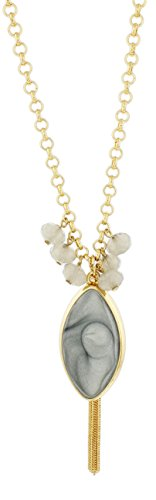 (New Dimensions Grey Marble Swirl Teardrop Necklace on Extra Long 28