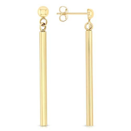 Ioka - 14K Yellow Gold RD Bar Hanging Push Back Earrings