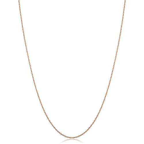 - Kooljewelry Solid 10k Rose Gold Dainty Rope Chain Necklace (0.7 mm, 24 inch)
