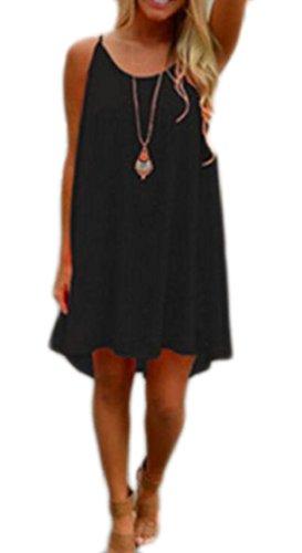 Back Womens Jaycargogo Spaghetti Black Dress Cross Casual Mini Chiffon Loose Pleated IqdAq