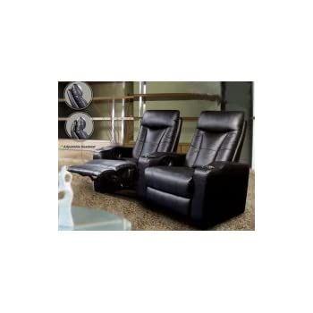 Amazon Com Pavillion Theater Seating 2 Black Leather