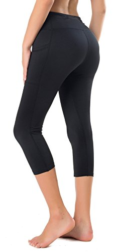 Flatik Women's Yoga Capri Legging Big Side Pocket Non See-Through Fabric S Black ()