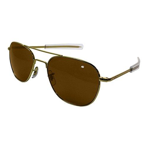 AO Eyewear American Optical - Original Pilot Aviator Sunglasses with Bayonet Temple and Gold Frame, High Contrast Amber Polycarbon ate Lens
