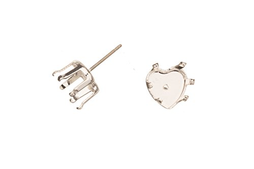Heat Shape Snap-On Ear Stud Silver Plated Brass Fits 10mm Cabochons And Crystal With Surgical Stainless Steel Pin 10X10mm sold per 8pcs ()
