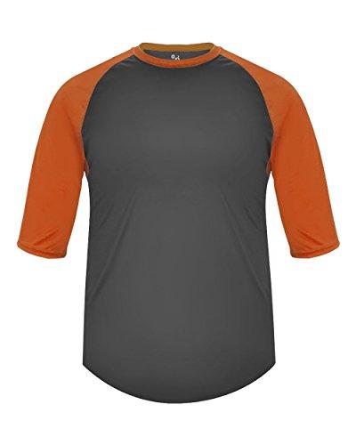 Adult Raglan Baseball - Adult Medium Graphite with Orange Sleeves Raglan 3/4 Baseball & Softball Undershirt/Jersey Top