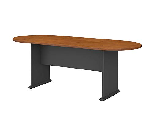(Bush Businеss Furniturе Office Home Furniture Premium Series A & C 82W x 35D Racetrack Oval Conference Table in Natural Cherry)