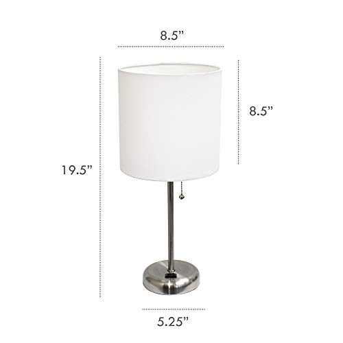 Limelights LT2024-WHT Brushed Steel Lamp with Charging Outlet and Fabric Shade, White by Limelights (Image #6)