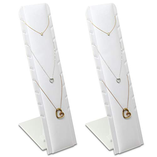 Mooca 2 Pcs Set White Faux Leatheretter Multiple Pendant Necklace Showcase Jewelry Display with Adjustable Stand
