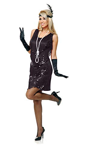 Charades Women's Four Tier Flapper Dress, Black, -