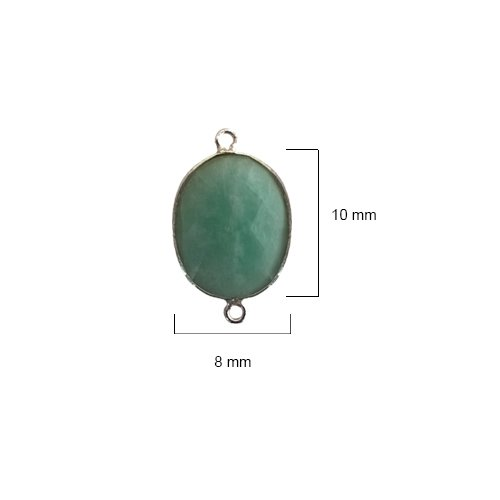 6 Pcs Amazonite Oval Beads 8X10mm silver by BESTINBEADS, Amazonite Hydro Quartz Oval Pendant Bezel Gemstone Connectors over 925 sterling silver bezel jewelry making supplies (Amazonite Oval Beads)