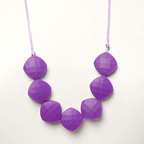 'Mary' Teething Necklace - Faceted Square Beads - Orchid Faceted