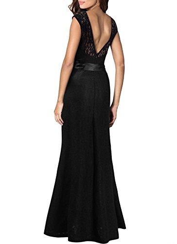 KAXIDY Vestiti da Donna Colletto Tondo Vestito Pizzo Abiti di Sera Abiti  Maxi Abito  Amazon.it  Abbigliamento 83f05cf883a