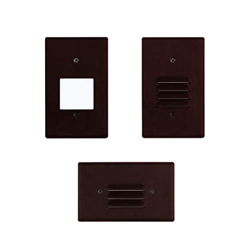 LED 2W Step Light Bronze Finish (24 Pack) Interchangeable Plate Flat Frosted (Horizontal Louver/Vertical Louver) 10 YR Warranty; Waterproof; Dimmable; 120V; 150 Lumnes (Soft White 2700K) by Quest LED (Image #6)