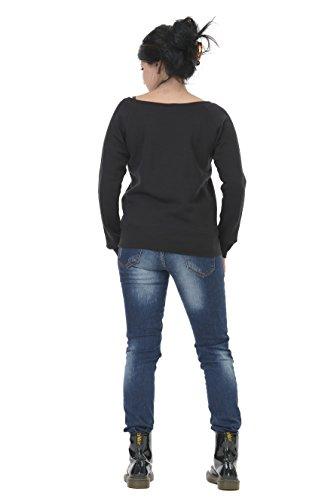 3Elfen bianco scollatura barca grigio piccolo sweatshirt rosso maglione sweater donna fata nero blu porpora con stampa nero fHqfRF