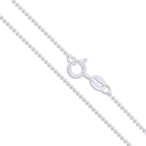 Sterling Silver Italian Ball Bead Chain 1mm 925 Italy New Dog Tag Necklace 18