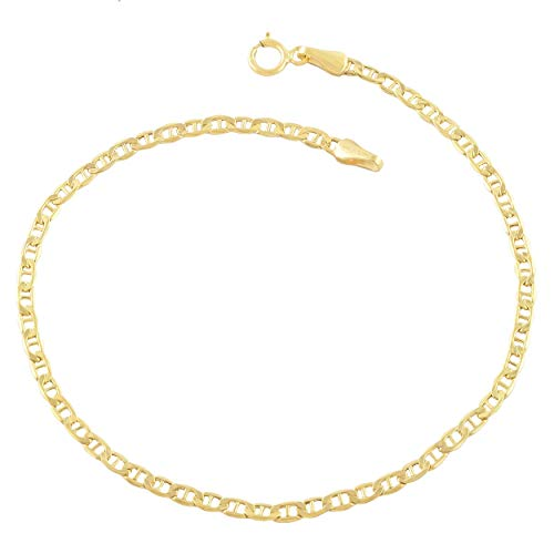 Verona Jewelers 14K Gold Anklets for Women. 14K 10 Inch Anklet, Gold Flat Mariner Anklet, 14K Gold Box Chain (Mariner)
