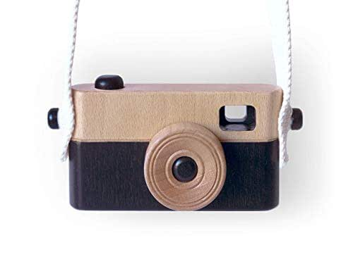 Black Engraved Handmade Wood toy camera Hand painted