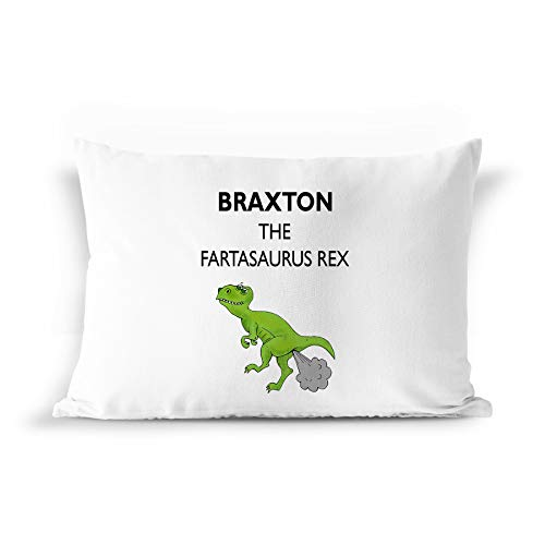 BarborasBoutique Braxton Name Gift Pillowcase - PIL7 Funny Dinosaur Dino Farta-Saurus T-Rex Fart Farting Joke Pillow Case for Men Kids Boys Children Male Adults Personalized Standard Size ()