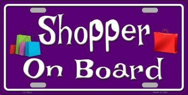 Bargain World Shopper On Board Novelty Metal License Plate (Sticky Notes)
