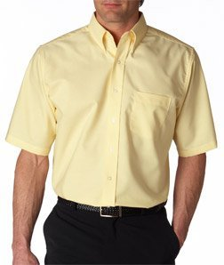 Dress Button Down Oxford - UltraClub mens Classic Wrinkle-Free Short-Sleeve Oxford(8972)-BUTTER-L