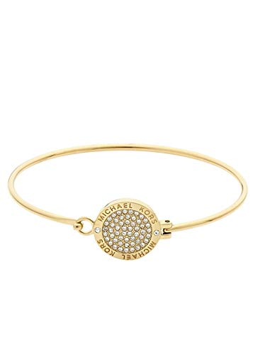 Michael Kors MKJ3559710 Gold Tone Bangle Bracelet with Crystal Pave Disc