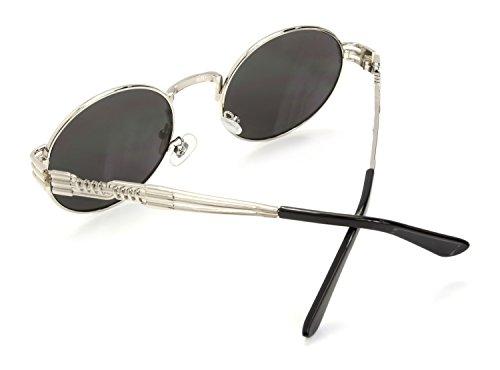 Ro de Gafas las Hombres Sol Espejo Plateado de Steampunk Retro Rox Señoras y rY5x0Zqr