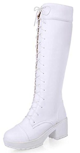 Diffyou Donna Lace Up Chunky Tacco Militare Stivali Alti Al Ginocchio Bianco