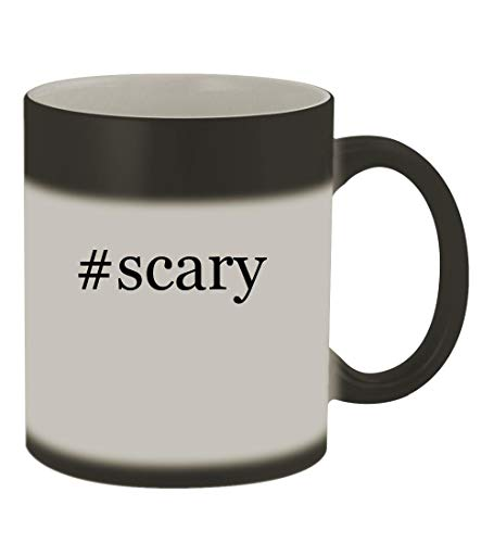 #scary - 11oz Color Changing Hashtag Sturdy Ceramic Coffee Cup Mug, Matte Black -