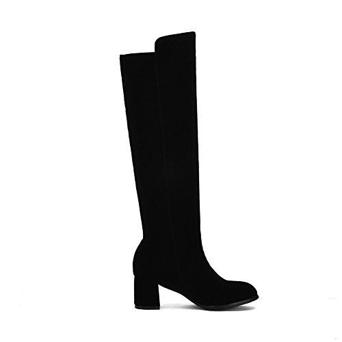 VogueZone009 Damen Hoch-Spitze Ziehen auf Mattglasbirne Mittler Absatz Rund Zehe Stiefel, Blau, 35