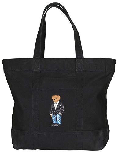 Polo RL Suit Bear Canvas Tote Bag-Black (Handbags Polo Lauren Ralph)