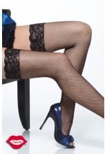Coquette Women's Lace Top Fishnet Stockings White One Size Fits Most