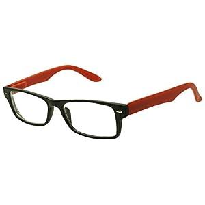 Classic Rectangular Negative Strength Prescription Eyewear Glasses Power -1.00 thru -2.25 (Black | Red, -2.25)
