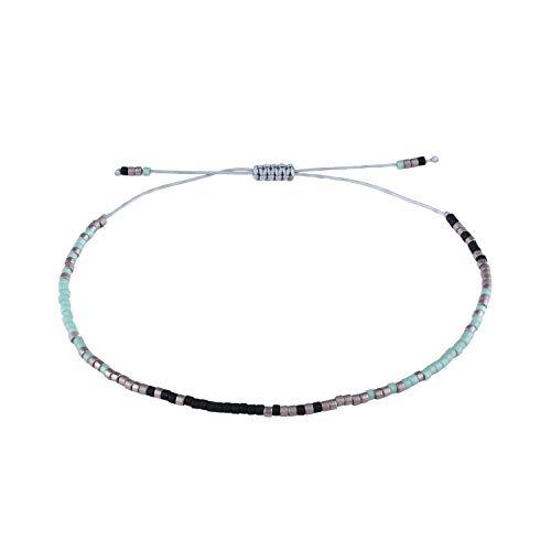 - KELITCH Multicolor Seed Beaded Friendship Bracelets Handmade New Chain Jewelry Bangles (Tiffany Blue K)