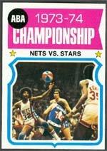 1974 Topps Regular (Basketball) Card# 249 ABA Championship - Nets vs Stars Ex ()