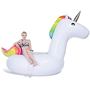 JUOIFIP Giant Inflatable Unicorn Pool Float Floatie Ride On with Rapid Valves Large Rideable Blow Up Summer Beach Swimming Pool Party Lounge Raft Decorations Toys Kids Adults