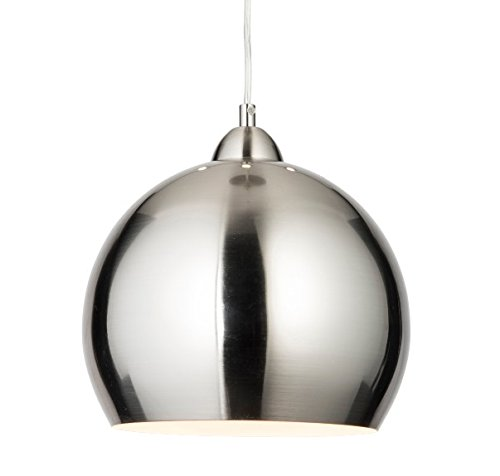new style 8c922 7ebe4 Modern Brushed Steel Retro Dome Cafe Style Ceiling Pendant Light with White  Inside, Kitchen Pendant Light