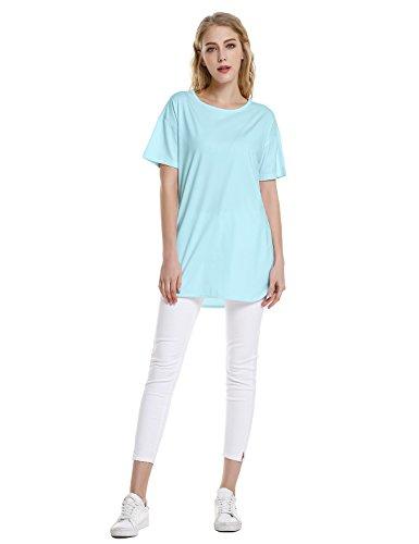 ZAN.STYLE Women's Plus Size Slub Cotton Tunic Tee Shirt Long T Shirt for Leggings Medium Style 2-Light Blue by ZAN.STYLE (Image #4)