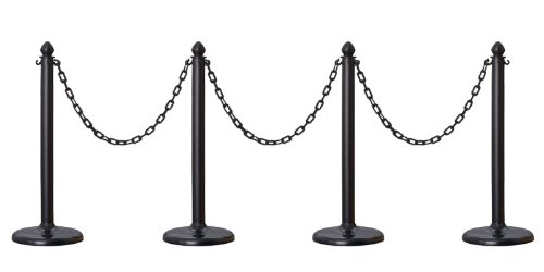 PLASTIC STANCHION IN BLACK + 32' CHAIN, Crowd Control Center, 4 PCS C-HOOK -