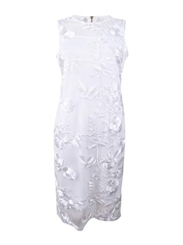 Calvin Klein Women's Petite Sleeveless Lace Sheath with Illusion Neckline Dress, White, 4P