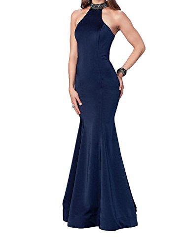 La_Marie Braut Navy Blau Neckholder Satin Abendkleider Partykleider festlichkleider Meerjungfrau lang