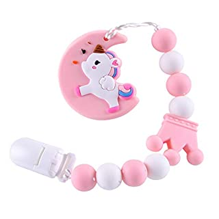 Baby Teething Toys BPA Free Silicone Teether Pain Relief Toy with Pacifier Clip Holder Set for Baby Girls Boys Infant Newborn Baby Shower Birthday Christmas (Pink)