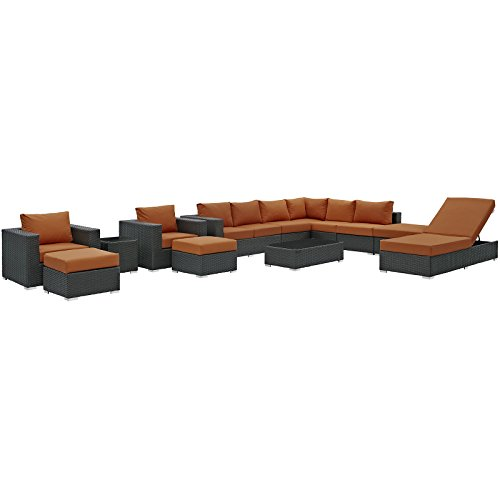 Modway EEI-1884-CHC-TUS-SET Sojourn Wicker Rattan Outdoor Patio Coffee Table, Seating for Ten, Canvas Tuscan ()