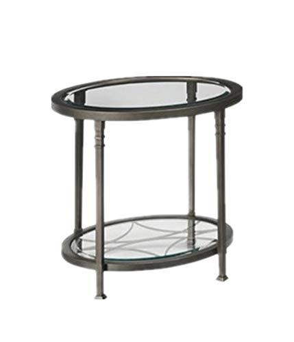 GTU Furniture Atrium Metal Oval/Round Beveled Glass Coffee/Cocktail Table (Atrium Metal Oval Beveled Glass End/Side Table) (Oval Table Metal End)