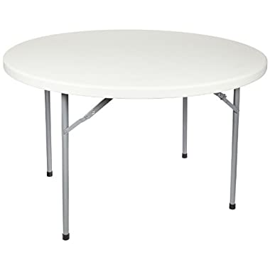 National Public Seating BT-R Series Steel Frame Round Blow Molded Plastic Top Folding Table, 700 lbs Capacity, 48  Diameter x 29-1/2  Height, Speckled Gray/Gray